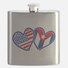 USA Cuba Patriotic Hearts Flask