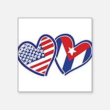 USA Cuba Patriotic Hearts Sticker