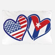 USA Cuba Patriotic Hearts Pillow Case