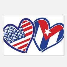 USA Cuba Patriotic Hearts Postcards (Package of 8)