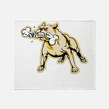 Bulldog With Bone Throw Blanket