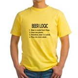 Beer logic Mens Yellow T-shirts