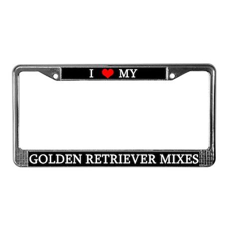 Love Golden Retriever Mixes License Plate Frame