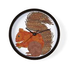 Fabric Applique Squirrel Wall Clock