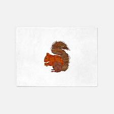 Fabric Applique Squirrel 5'x7'Area Rug