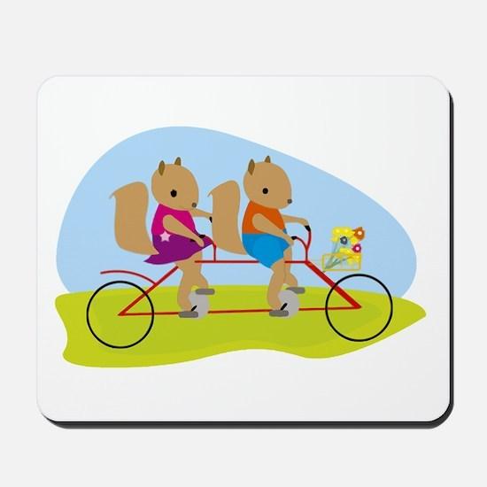 Squirrels on a Tandem Bike Mousepad
