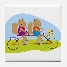 Squirrels on a Tandem Bike Tile Coaster