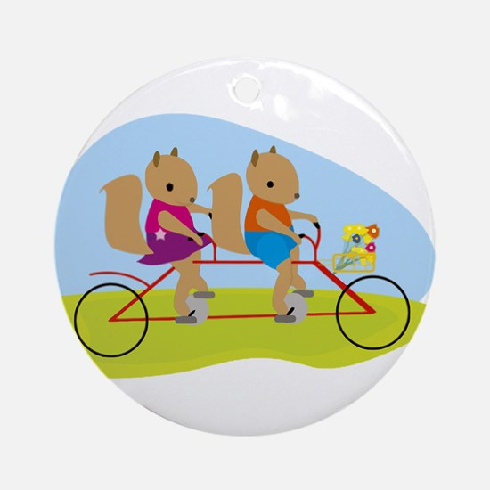 Squirrels on a Tandem Bike Ornament (Round)