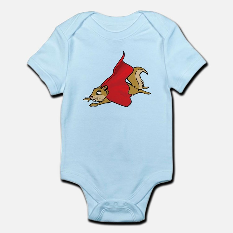 Flying Super Squirrel in Red Cape Body Suit