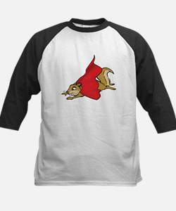Flying Super Squirrel in Red Cape Baseball Jersey