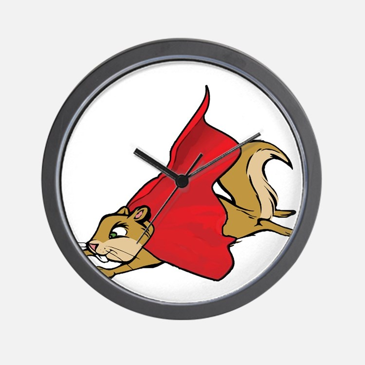 Flying Super Squirrel in Red Cape Wall Clock