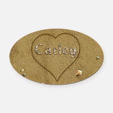 Carley Beach Love Oval Car Magnet