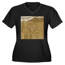 Carina Beach Women's Plus Size V-Neck Dark T-Shirt