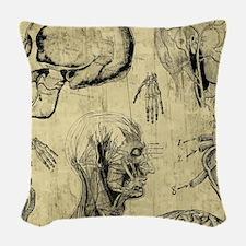 Vintage Human Anatomy Woven Throw Pillow