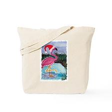 Santa Flamingo Tote Bag