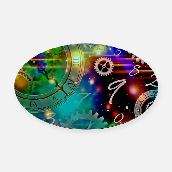 Steampunk Time Universe Oval Car Magnet