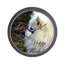 Happy Birthday Samoyed Wall Clock