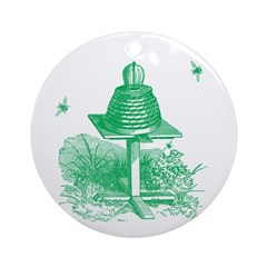 The Hive in Green Ornament (Round)