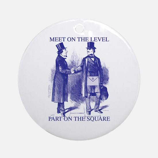 Meeting On the Level - Masonic Blue Ornament (Rou