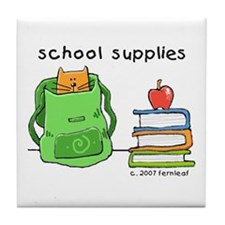 Cat in Backpack Tile Coaster