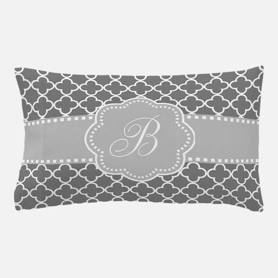 Gray Quatrefoil Monogram Pillow Case