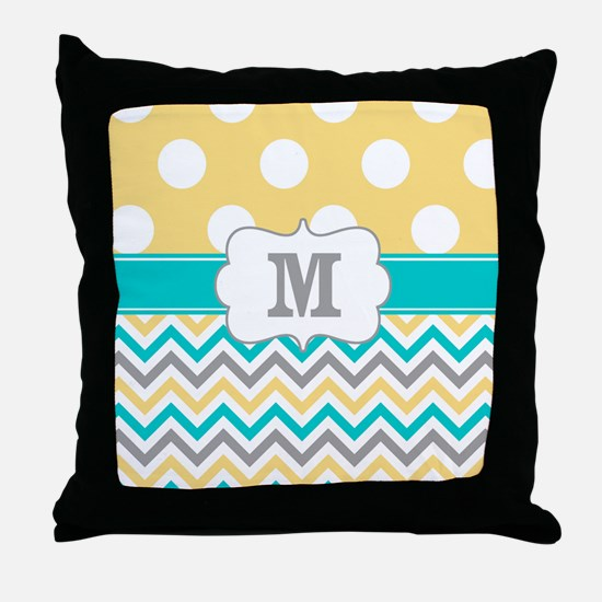 Yellow Gray Teal Dots Monogram Throw Pillow