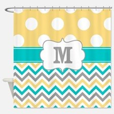 Yellow Gray Teal Dots Monogram Shower Curtain
