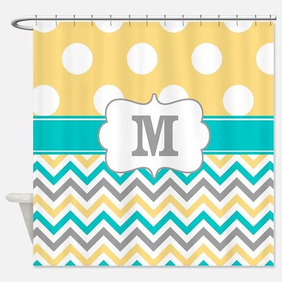 Yellow Gray Teal Dots Monogram Shower Curtain