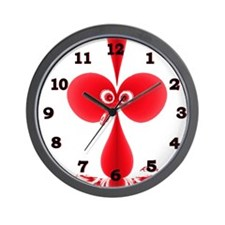 Goofy Bird Red w Black Numbers Wall Clock