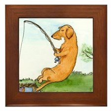 Wirehair Dox Fishing Framed Tile