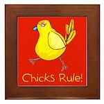 Kid Art Chicks Rule Framed Tile