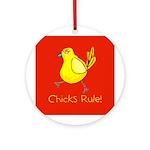 Kid Art Chicks Rule Ornament (Round)