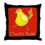 Kid Art Chicks Rule Throw Pillow