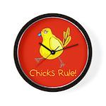 Kid Art Chicks Rule Wall Clock