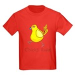 Kid Art Chicks Rule Kids Dark T-Shirt