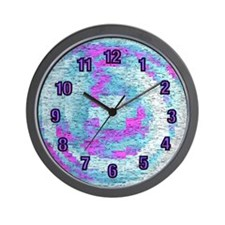 Pixels of Blue and Purple Wall Clock