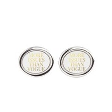 More Issues Than Vogue - Faux Gold Oval Cufflinks