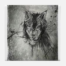 wolf Alpha Omega Tile Coaster
