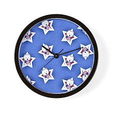 KiniArt US Westie Stars 2 Wall Clock