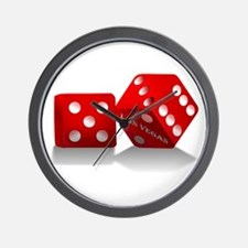 Las Vegas Red Dice Wall Clock