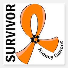 """Kidney Cancer Survivor 1 Square Car Magnet 3"""" x 3"""""""