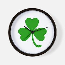 3 Leaf Kelly Green Shamrock with Stem Wall Clock