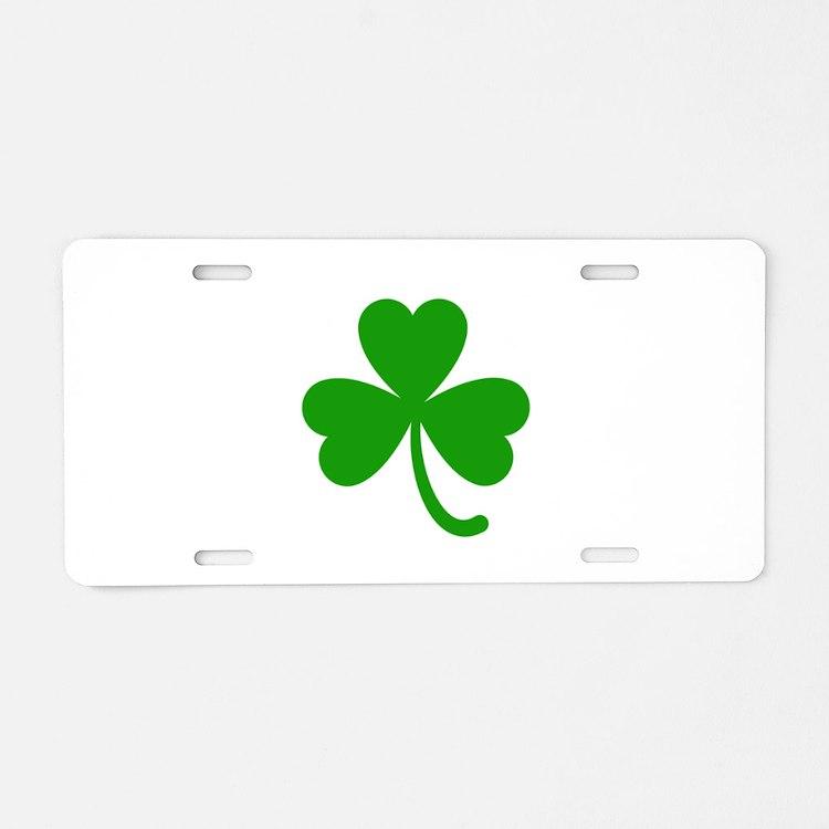 3 Leaf Kelly Green Shamrock Aluminum License Plate