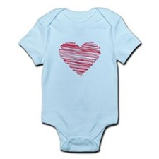 Sketched Heart Red 001 Body Suit