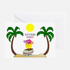 Retired Chick, tropical paradise Greeting Card