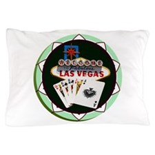 Las Vegas Welcome Sign Poker Chip Pillow Case