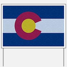 Flag of Colorado Damask Pattern Yard Sign