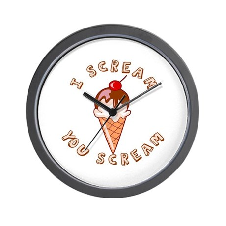 I Scream - You Scream Ice Cream Wall Clock