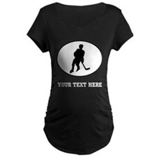 Hockey Player Silhouette Oval (Custom) Maternity T