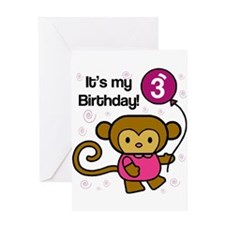 Monkey 3rd Birthday Greeting Card